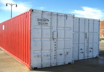 two forty-foot long storage containers, side by side, Satellite Shelters brand