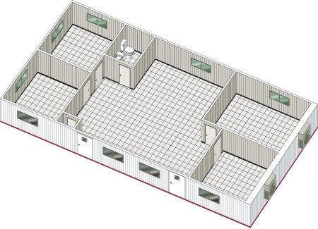 Basic double-wide mobile office floor plan