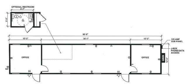 Single-wide mobile office floor plan with optional bathroom